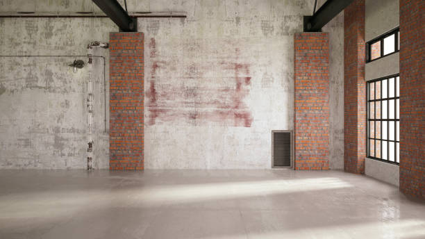 Empty Large Warehouse Wall Empty Large Warehouse.3D Render warehouse interior stock pictures, royalty-free photos & images