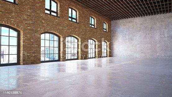 Empty white brick wall. 3D Render