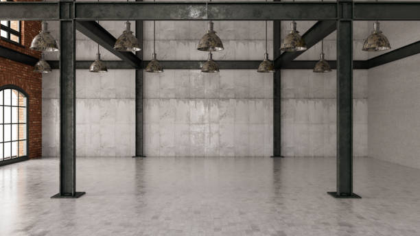 empty large warehouse with concrete wall and lights - concrete wall interior imagens e fotografias de stock