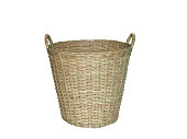 Empty laundry basket weave wicker wood isolated on white background. (clipping path included)