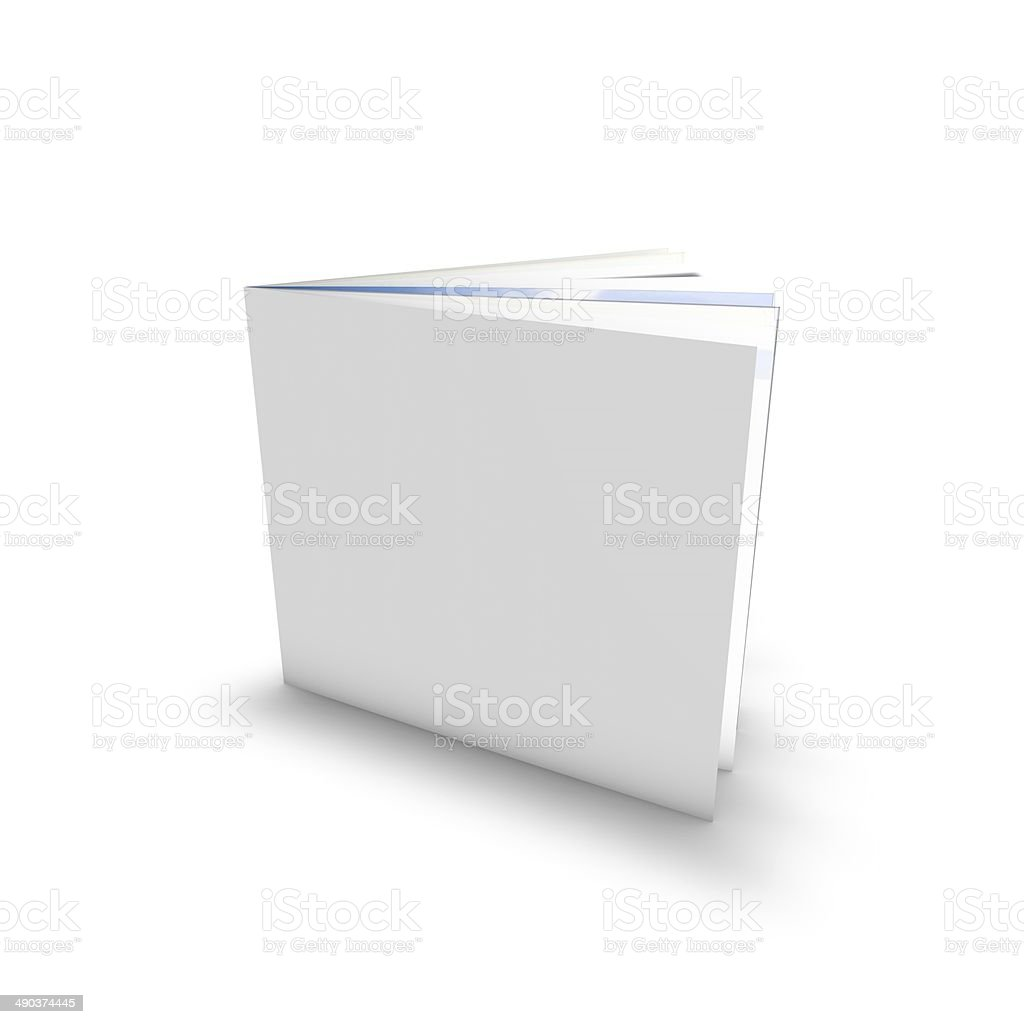 empty leaflet standing with empty cover, template isolated stock photo