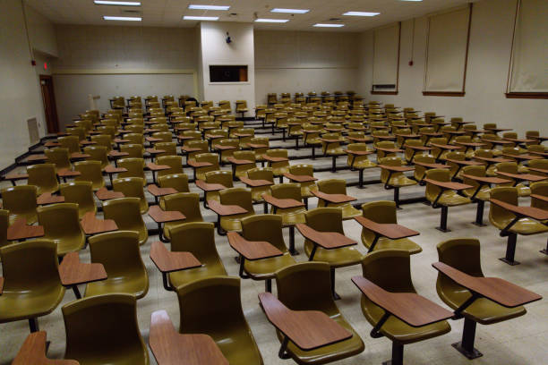 Empty Lecture Hall at a University stock photo