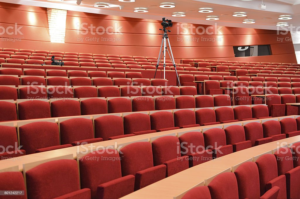 Empty Lecture Hall With Cameras stock photo