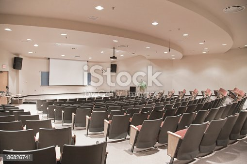 Theater seating in a college lecture hall.