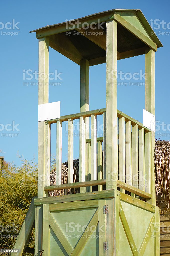 Empty Lifeguard Booth On A Sunny Day stock photo