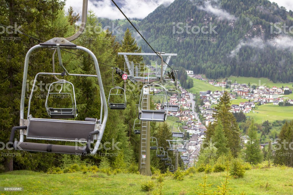 Empty lifts in Alps stock photo