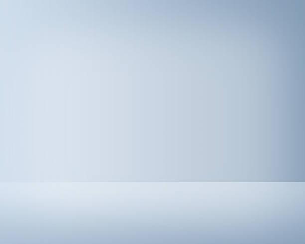 leere licht blau studio-innenansicht - hellblaues zimmer stock-fotos und bilder