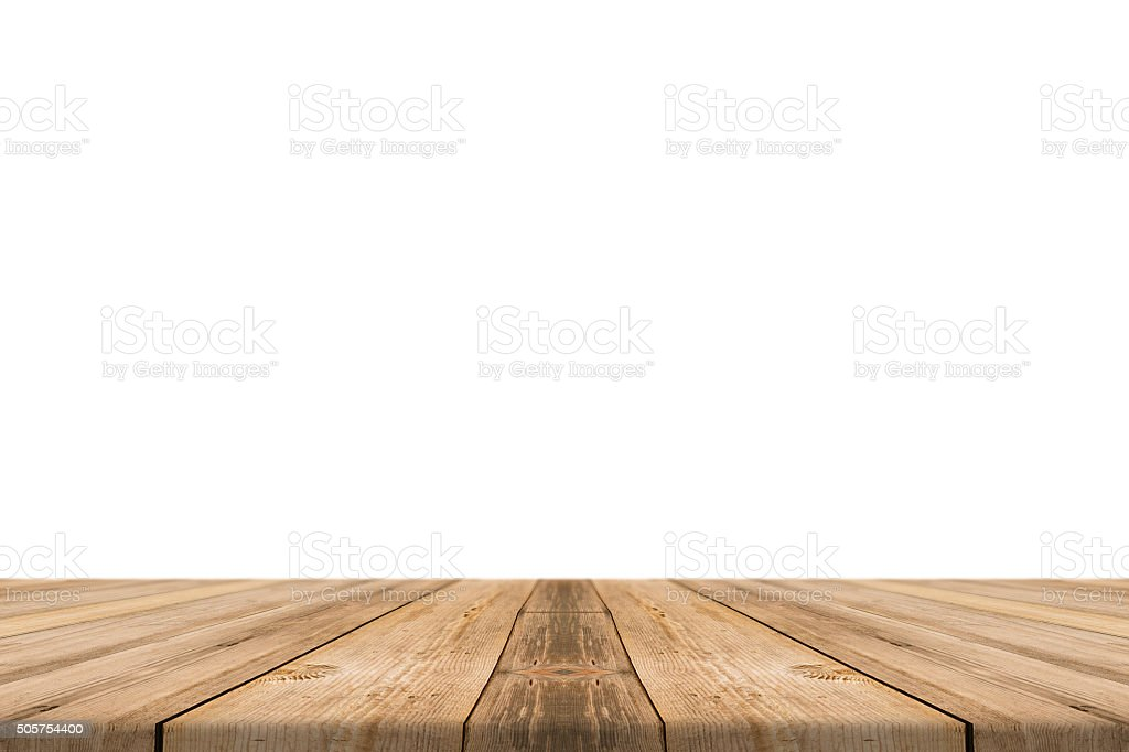Empty light wood table top isolate on white background. stock photo