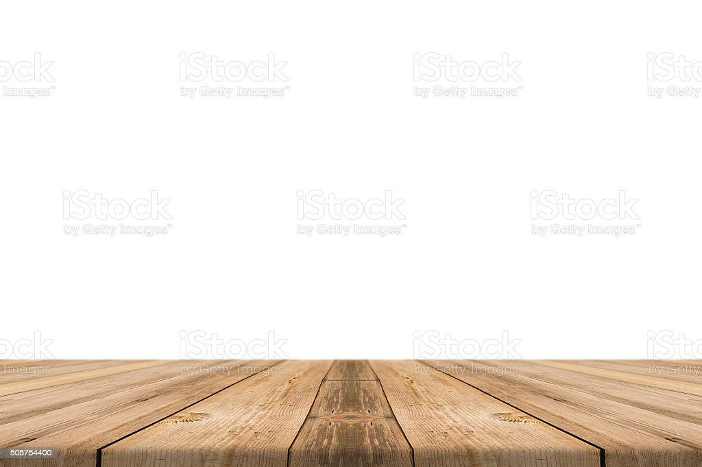 Mesa vazia de madeira clara isolar no fundo branco. - foto de acervo