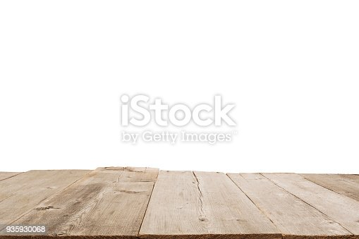 Empty light wood table top isolate on white background