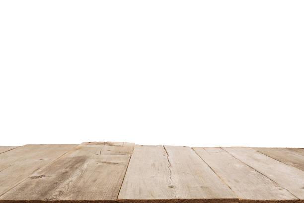 empty light wood table top isolated on white background - prospettiva lineare foto e immagini stock