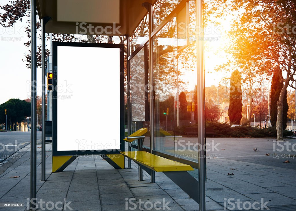 Empty lightbox on the bus stop. Visual effects stock photo