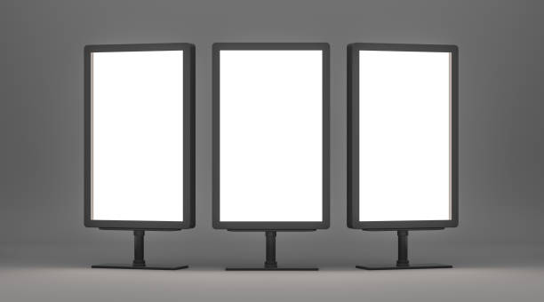 Empty Lightboxes on gray background Blank billboards with copy space for your content. Empty Lightboxes on gray background. 3D Rendering electronic billboard stock pictures, royalty-free photos & images