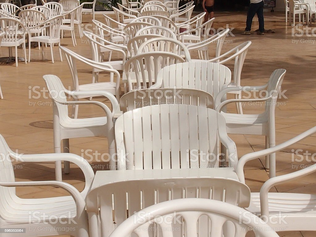 Empty little tables royalty-free stock photo