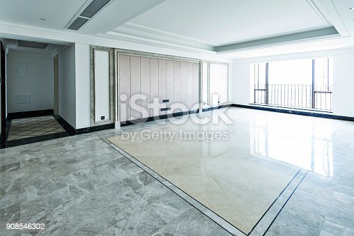 istock Empty living room in modern apartment 908546302