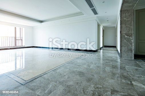 istock Empty living room in modern apartment 908546454