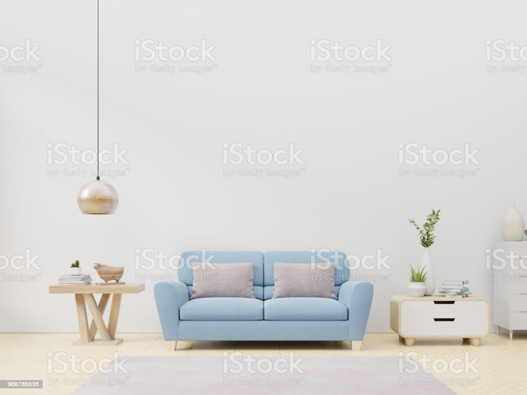 Empty Living Room With Blue Fabric Sofa Stock Photo Download Image Now Istock
