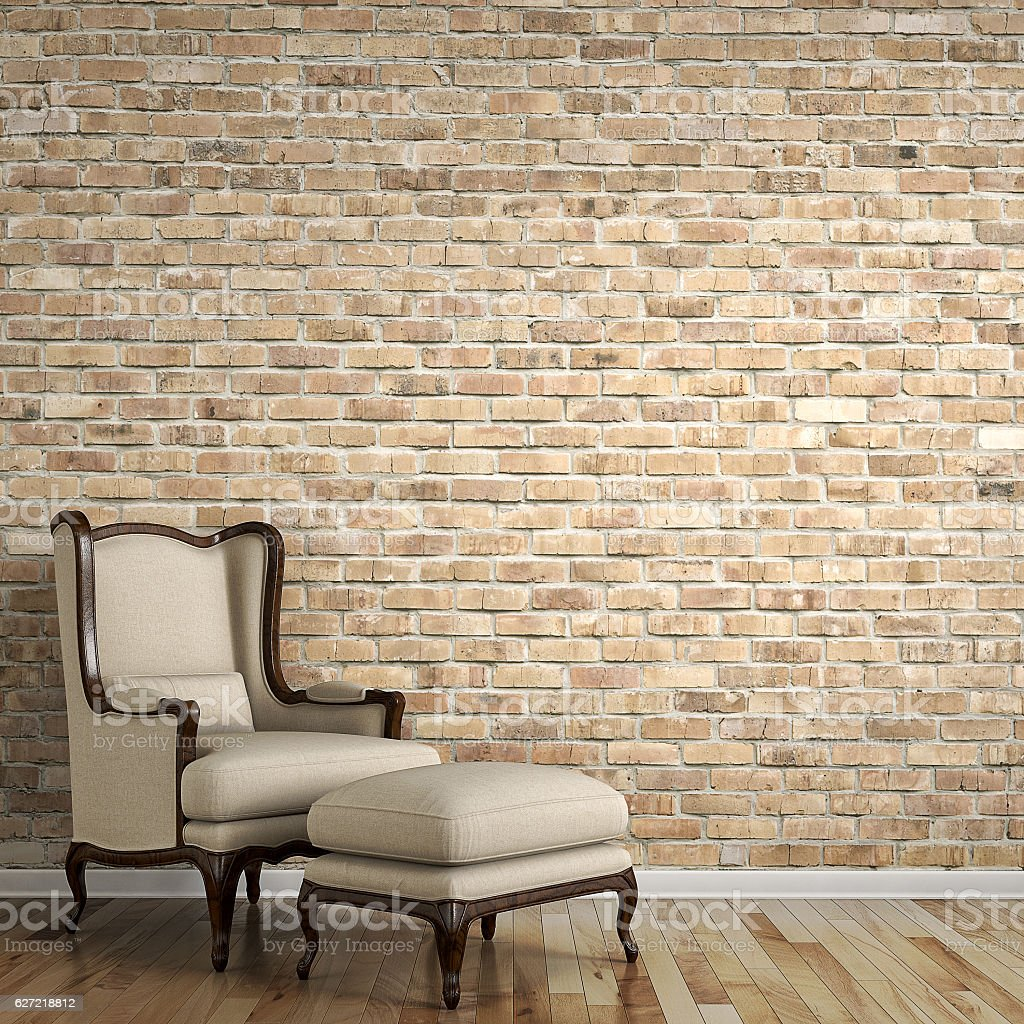 Empty Living Room With Brick Wall Behind Classic Chair Royalty Free Stock Photo