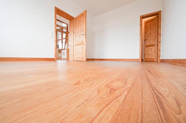 Empty living room with brown wooden floor stock photo