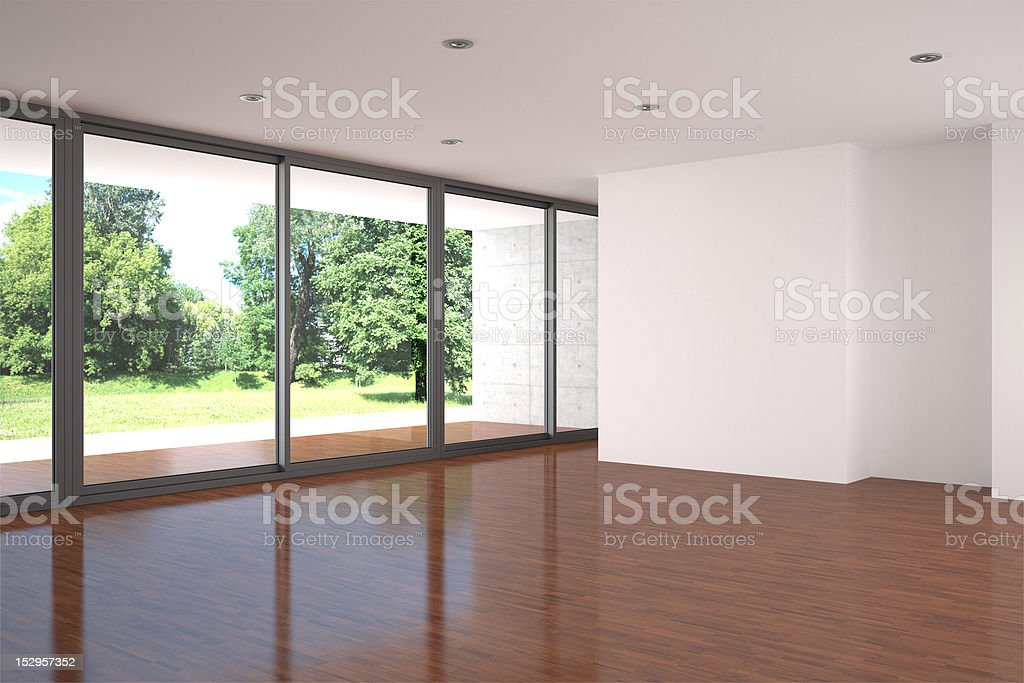 empty living room with parquet floor royalty-free stock photo