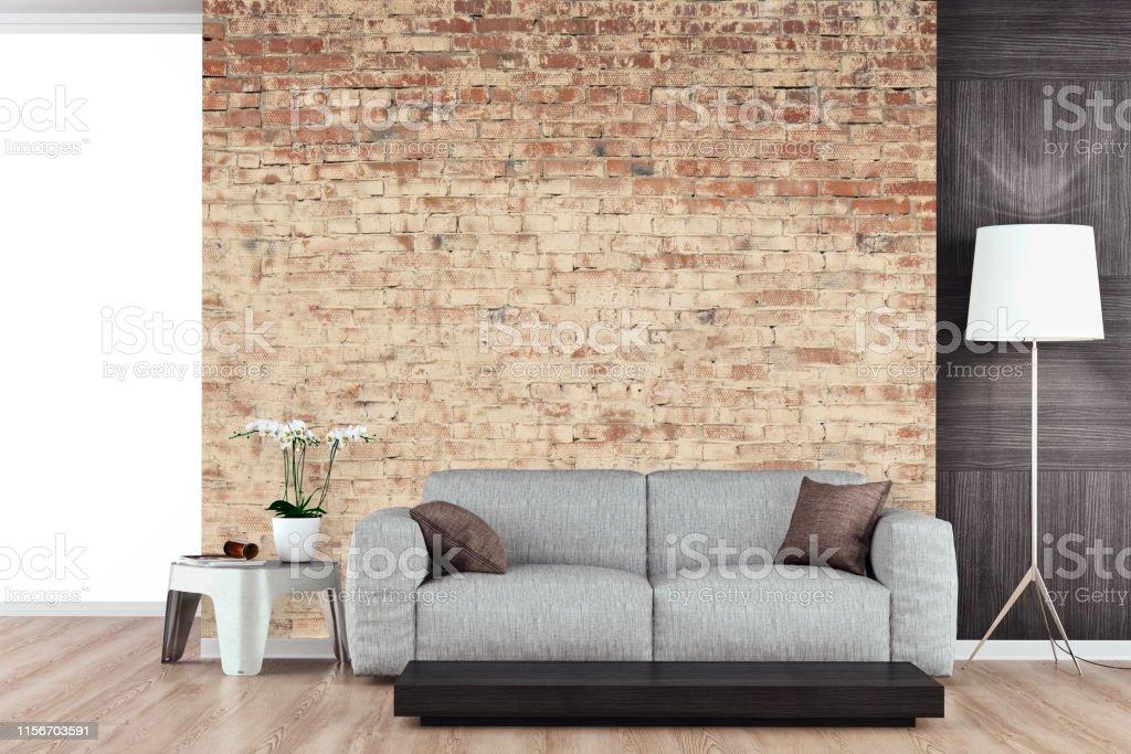 Leeres Wohnzimmer Mit Sofa Ziegelwand Stockfoto und mehr Bilder von  Altertümlich