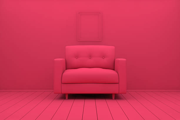 leere wohnzimmer mit sofa - hellrosa zimmer stock-fotos und bilder