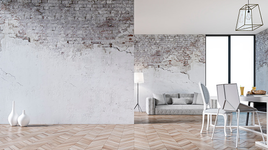 Empty living room with a white sofa on hardwood floor in front of white ruined brick wall and copy space. Windows in front of a table and chairs on the right, large white ruined brick empty wall on the left. Vintage effect applied. 3D rendered image.