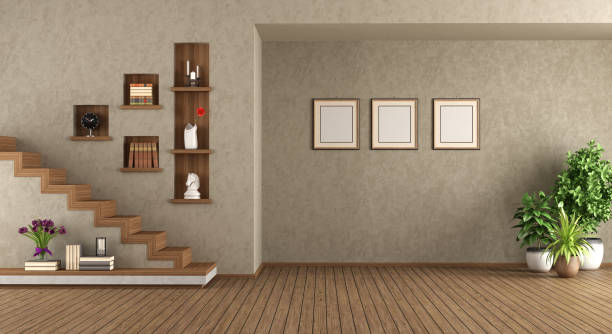 Empty living room with staircase stock photo