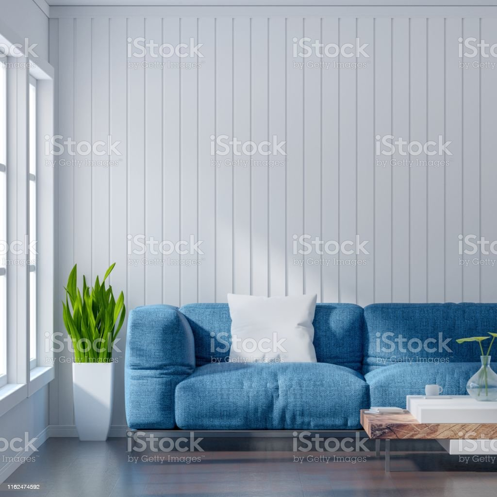 Empty Living Room With White Wall And Light Blue Sofa Minimal Rustic3d Rendering Stock Photo Download Image Now Istock