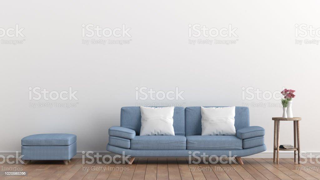 Leeren Wohnzimmer Mit Weissen Wand Und Leichten Blauen Sofa Rosa