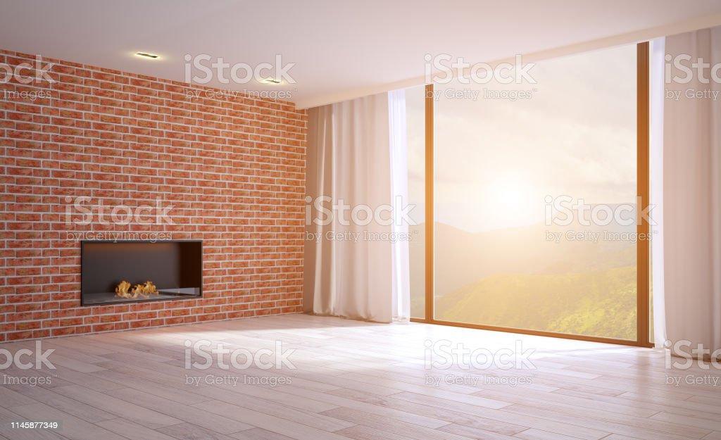 Leeres Wohnzimmer Mit Holzund Backsteinwanden Grosses Fenster