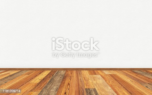 Empty living room with wooden parquet floor and blank white painted wall. 3D rendering illustration for design interior.