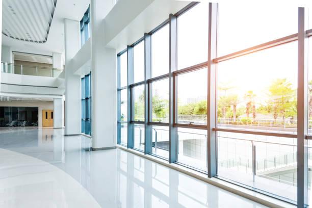 Empty lobby with glass window stock photo