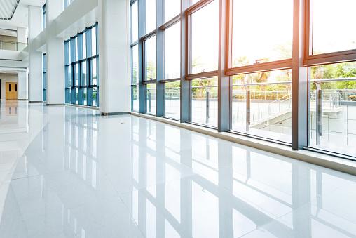 Empty lobby with glass window.