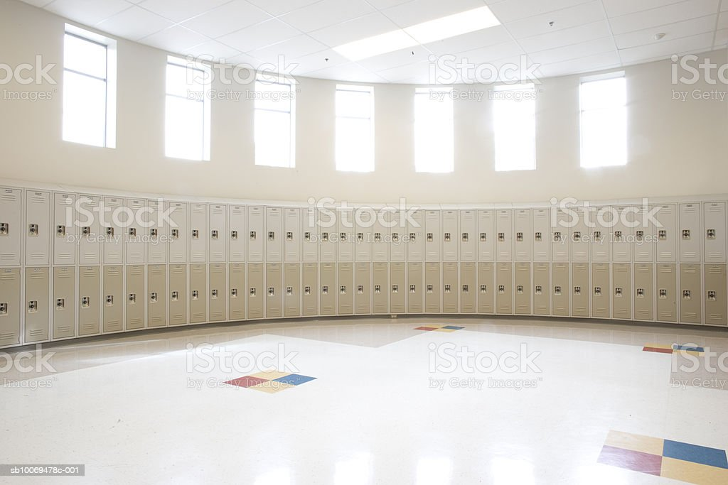 Empty locker room in high school royalty-free stock photo