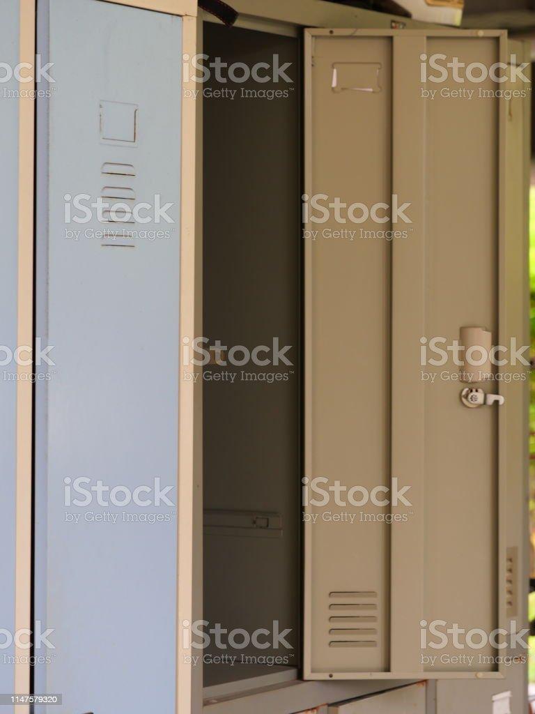 Empty Locker Room With Opened Door Stock Photo Download Image Now Istock