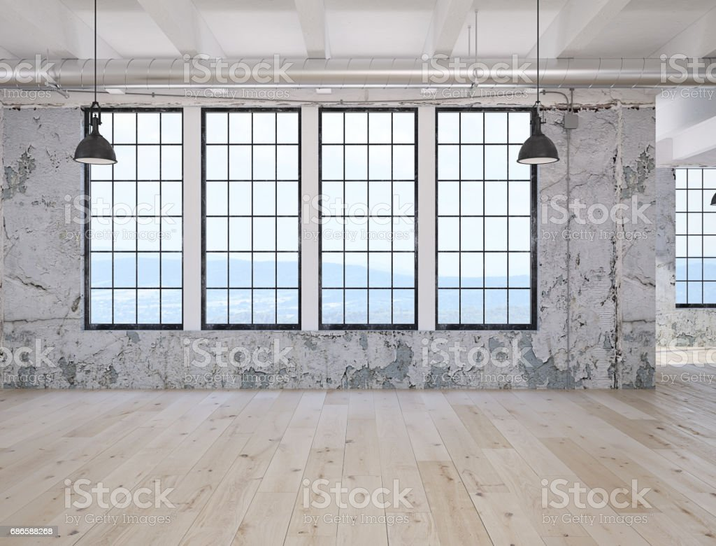 empty loft apartment. 3d rendering royalty-free stock photo