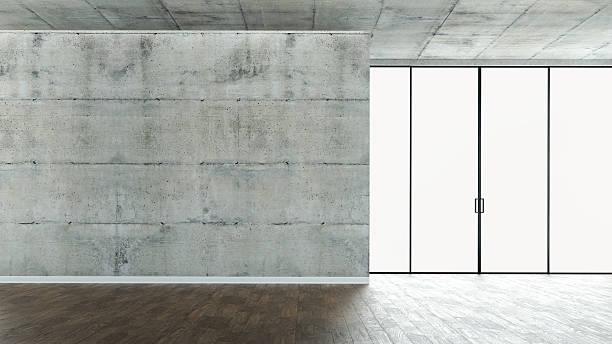 leere loft-apartment - betonboden wohnzimmer stock-fotos und bilder
