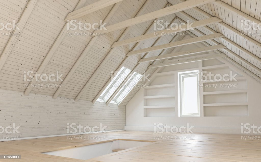 Empty Loft Apartment with a Staircase stock photo