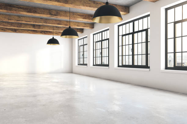 empty loft interior side - loft apartment stock pictures, royalty-free photos & images