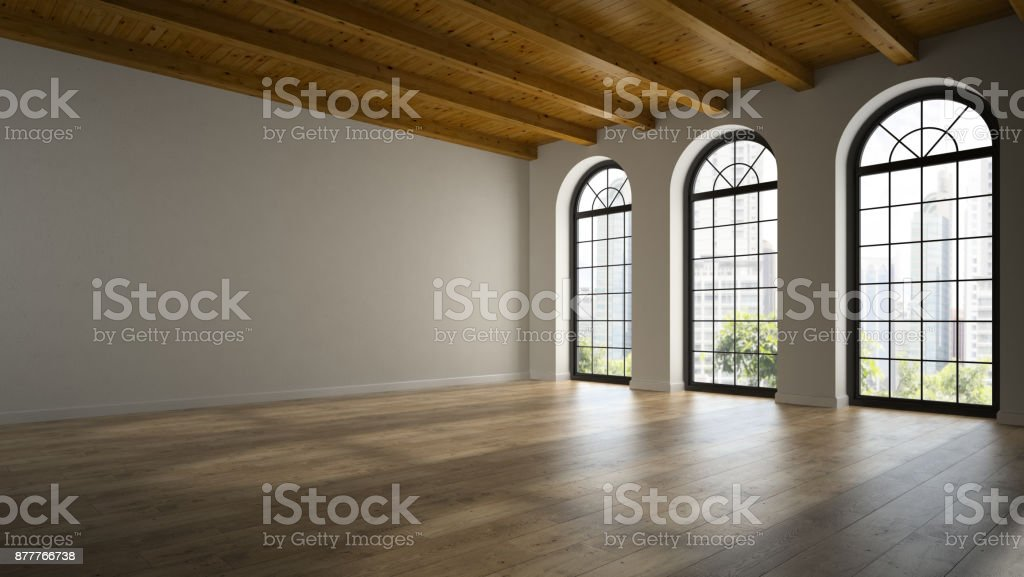 Empty loft room with arc windows 3D rendering 2 stock photo