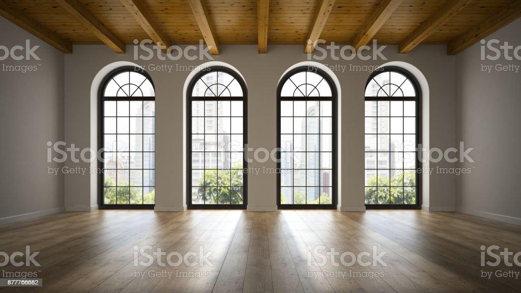 Empty loft room with arc windows 3D rendering 3 stock photo