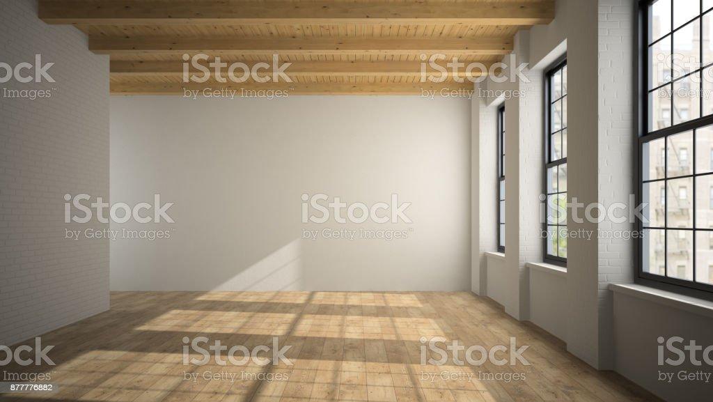Empty loft room with arc windows 3D rendering stock photo