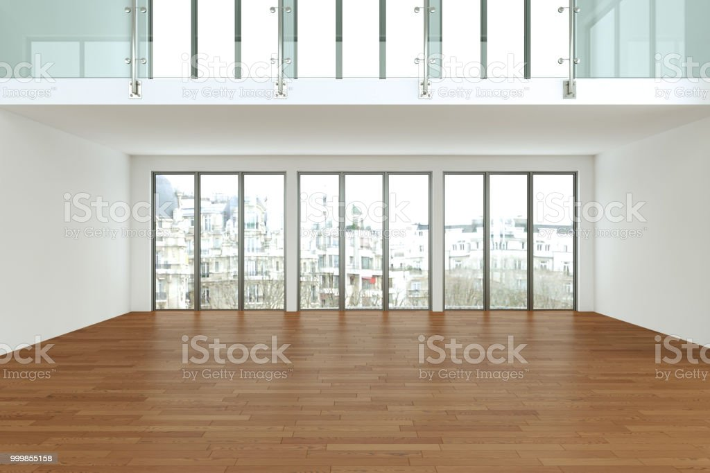 Empty loft room with white walls big windows and wooden floor 3d...