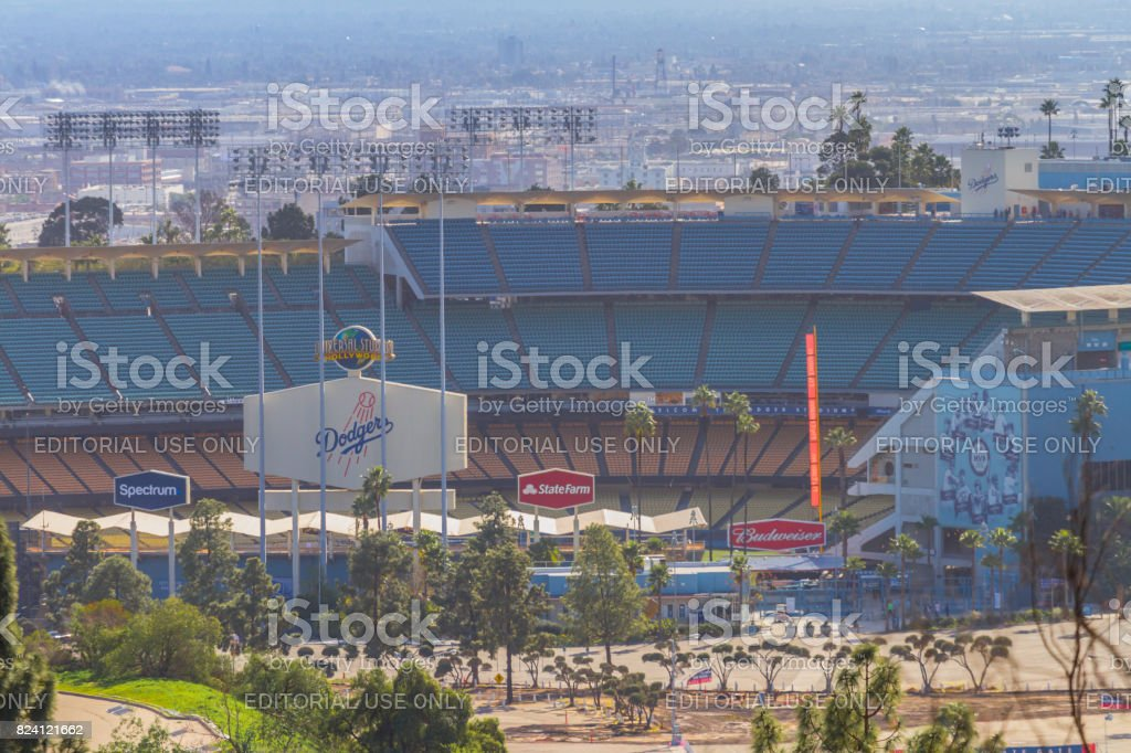 Empty Los Angeles Dodgers baseball stadium stock photo