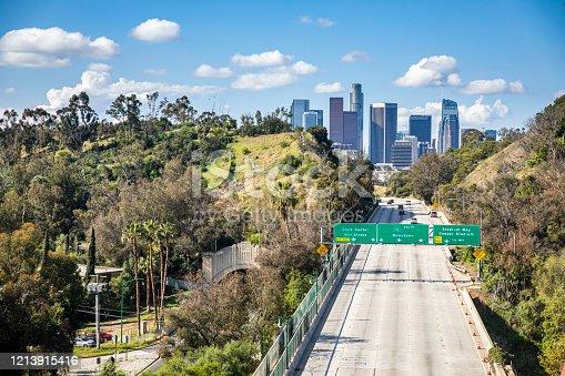 Los Angeles California freeways empty during 2020 Coronavirus pandemic.