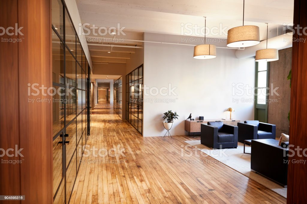 Empty lounge and meeting area in luxury business premises royalty-free stock photo