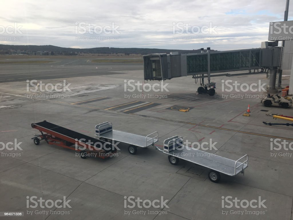Empty luggage trolleys at the airport - Royalty-free Air Vehicle Stock Photo