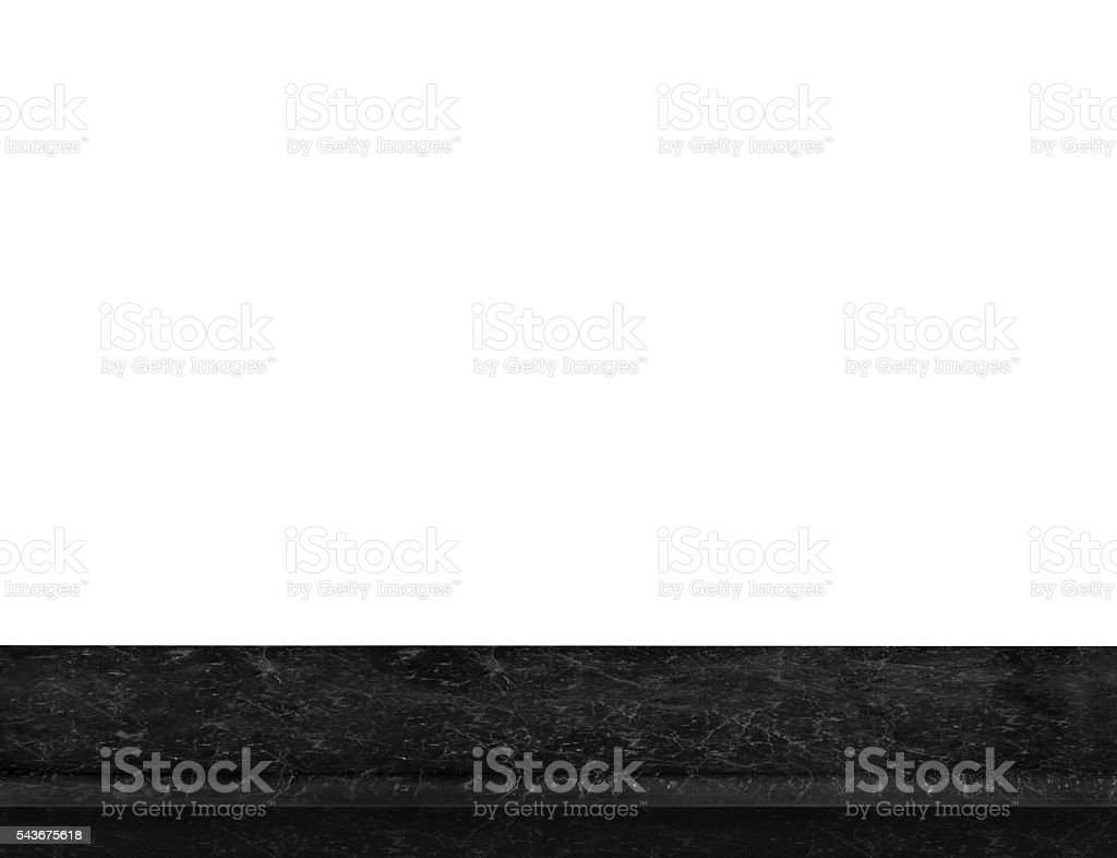 Empty luxury black marble table top isolate on white background, stock photo