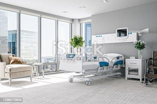 istock Empty Luxury Modern Hospital Room 1298375809